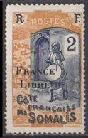 COTE DES SOMALIS - Surcharge France Libre 1915 2c - Côte Française Des Somalis (1894-1967)