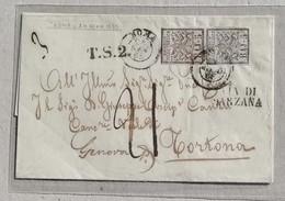 Busta Di Lettera Roma-Tortona - 24/01/1853 Affrancata Con Coppia Da 5 Baj - Siglata A.Diena - Stato Pontificio