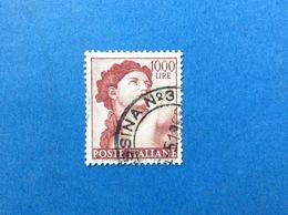 1961 ITALIA MICHELANGIOLESCA 1000 LIRE EVA CAPPELLA SISTINA FRANCOBOLLO USATO ITALY STAMP USED - 6. 1946-.. Repubblica