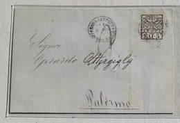 Lettera Roma-Palermo - 06/08/1885 Affrancata Con 5 Baj - Stato Pontificio