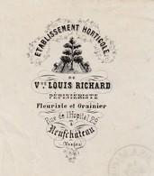 Lettre Facture 1881 / Horticole / Vve Louis RICHARD / Pépiniériste Grainier / Cachets  88 Neufchäteau / Pour Fontenoy 88 - Autres