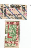 TICKETS EXPO 1937 - Autres
