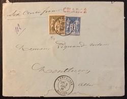 Lettre Chargée Sage N/B Tarif 1fr 15c VD De 600 Fr N°72 & 90 De Chevagnes Pour Montluçon TB - 1876-1878 Sage (Type I)