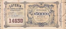 BILLETES DE LA LOTERIA DEL HOSPITAL DE CARIDAD DE MONTEVIDEO, URUGUAY. AÑO 1910. LOTTERY TICKET BILLET DE LOTERIE -LILHU - Billetes De Lotería