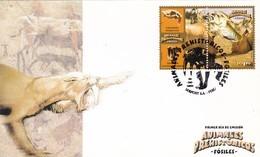 ANIMALES PREHISTORICOS, FOSILES, SMILODON NEOGAEUS - PERU, AÑO 2004, FDC SOBRE PRIMER DIA EMISION -LILHU - Fossils
