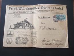 DR Germania 1914 Dekorativer Firmenumschlag Fried. W. Lohmüller Güsten Anhalt Zerlegbare Holzhäuser / Jagd Häuser Usw. - Allemagne