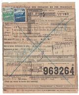 TIMBRE COLIS POSTAL N° 190 + 189 SUR AVIS D'ENCAISSEMENT De 1943 CACHET SNCF PARIS RENNES Pour NANTES - Lettres & Documents