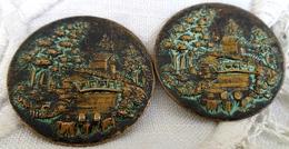 XIX ° PAIRE DE BOUTONS JAPONAIS SHAKUDO . 30 Mm . PAYSAGE . JARDIN  LOT OF 2 RARE JAPANESE BUTTONS . MEIJI - Boutons