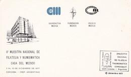 II° MUESTRA NACIONAL DE FILATELIA Y NUMISMATICA CASA DE MEDICO. MÉDECINE MEDICINE MEDICINA. ARGENTINA 1977 SPC -LILHU - Medicine