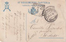 ITALIE : CP . DU 11 ème Regt D'INFANTERIE . EN FM . DE LA POSTE MILITAIRE . EN TRIPOLAINE . 1912 . - Autres
