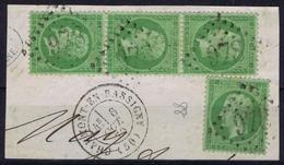 France Yv 20 Bande De 3  GC 978 Chaumont En Bassigny - 1862 Napoleone III