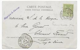 BUREAU FRANCAIS En TURQUIE - 1901 - CARTE De CONSTANTINOPLE Avec CACHET SANS LEVEE DU AU PLI Du TIMBRE ! Sur SAGE - Marcophilie (Lettres)