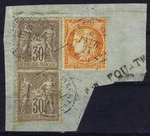 France Yv 38 + 69 Bande De 2  , Buenos Aires Paq Fr 1 Cachet Par Equator - Poste Maritime