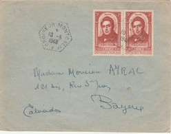 Yvert 796 X 2 Paire Ledru Rollin Sur Lettre Cachet CROISEUR MONTCALM 10/5/1948 Pour Bayeux Calvados - Marcophilie (Lettres)