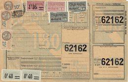 15 X 2  Plus 16 Plus 36 X 2 Plus 43 Plus Fiscal 25 C. Plus 10 C. X 2 Colis Postaux Sur Document Chemins De Fer - Lettres & Documents