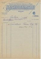"""Facture Illustrée """"Manufacture Générale D'articles De Pêche"""" - LA CANNE A PÊCHE -, Magasin D'Angers, Années 1930 - France"""