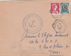Lettre De CIOA Arzew Algérie Cachet FLOTTILLE DUQUESNE 5/11/1957 + Marine Nationale Pour Paris - Marcophilie (Lettres)