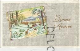 Mignonnette De Vœux. Village Et Biches à L'orée De La Forêt. Réverbère, Parchemin. Dorée. - Nouvel An