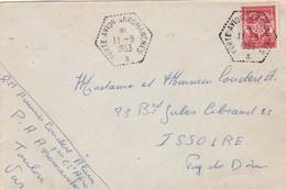 Timbre Franchise Militaire Yvert 12 Lettre Cachet PORTE AVION ARROMANCHES 11/5/1953 Pour Issoire Puy De Dôme - Marcophilie (Lettres)
