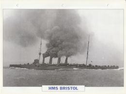 Picture Suitable For Framing - HMS  - Bristol - 1910 Cruiser - See Description Very Good - Postcards