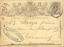 Belgica Año 1872 Entero Postal Circulado A Termonde Matasellos Chatelet, Termonde . Membrete J.Jacquet & Soeurs - Cartes-lettres