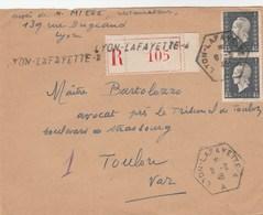DULAC 4F50 PAIRE SUR LR LYON LAFAYETTE 6/3/46 POUR TOULON VAR - 1944-45 Marianne De Dulac