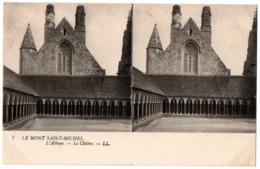 CPA Stéréoscopique - MONT SAINT MICHEL (Manche) - 7. L'Abbaye. Le Cloître - LL - Cartoline Stereoscopiche