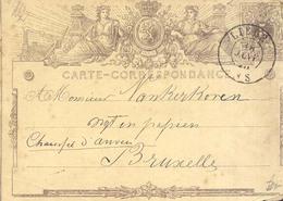 Año 1872 Entero Postal  Circulado A Bruxelles Matasellos Liege - Postwaardestukken