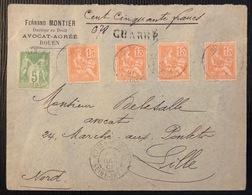 Lettre Chargée 150 FR Mixte Sage/mouchon Tarif à 65c N°106 & 117 X4 De Rouen Pour Lille TTB - 1898-1900 Sage (Type III)