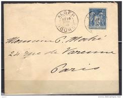 Alger Bourse Pour Paris 16 Juillet 1890 Ou 1900, N° 90 - 1877-1920: Semi Modern Period