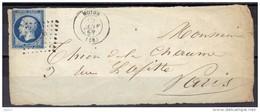 Noyon Pour Paris 29 Janvier 1857, N° 14A - 1849-1876: Periodo Clásico