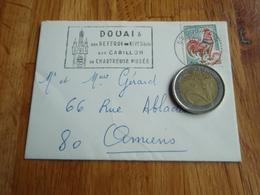 Petite Enveloppe Timbrée Au Coq De Décaris  + Flamme DOUAI - Autres