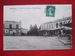 """33 - MARGAUX - """" LA PLACE DE LA GARE ET L' HOTEL BUREAU """"- Voir Les Scans -----   TRES RARE ------ - Margaux"""