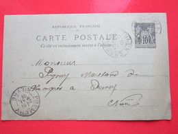 Cp écrite BOULANGER à CHAMPLEMY (58) 31/05/1901 Oblitérée à CHAMPLEMY & PREMERY (58) Timbre Entier Type SAGE - Ganzsachen