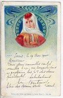 Cpa Illustrateur Femme - Tampon Paris Exposition  1900 Presse - Frauen Aller Zeiten Und Lander Wien - Autres Illustrateurs