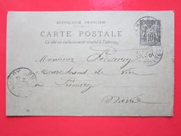 Cp écrite ROBLIN CORDONNIER à CHAMPLEMY (58) 18/05/1901 Oblitérée à CHAMPLEMY & PREMERY (58) Timbre Entier Type SAGE - Ganzsachen