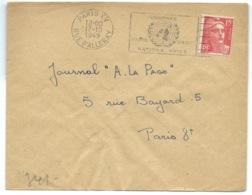 15f MARIANNE DE GANDON SUR ENVELOPPE / PARIS XV POUR PARIS / 1949 - Marcophilie (Lettres)