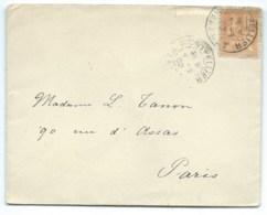 15c MOUCHON SUR ENVELOPPE / MONTPELLIER POUR PARIS / 1902 - Marcophilie (Lettres)