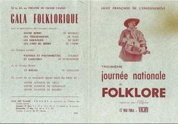 Programme Journée Nationale Du Folklore Vichy 17 Mai 1964 Bagad De Guingamp Gaouyous De Peyrehorade ... - Programma's