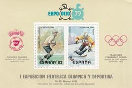 I EXPOSICION FILATELICA OLIMPICA Y DEPORTIVA, ESPAÑA '82 COPA MUNDIAL FIFA, EXPO OCIO 79. ESPAÑA 1979 HOLA BLOCK -LILHU - Blocs & Feuillets