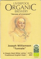 LIVERPOOL ORGANIC BREWERY  (LIVERPOOL, ENGLAND) - HEROES OF LIVERPOOL-JOSEPH WILLIAM TUNNALE - PUMP CLIP FRONT - Letreros