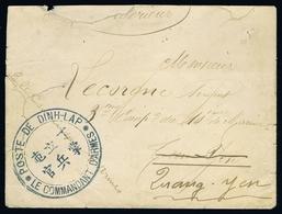 Indochine Enveloppe CORPS EXPEDIT. POSTE DE DINH-LAP / LE COMMANDANT D'ARMES 1898  (RR) - Covers & Documents