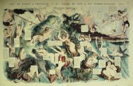 CARICATURE-SAISON à TROUVILLE, BAIN Des FEMMES POISSONS-1870-458 - Old Paper