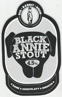 BIG RABBIT BREW  (GLASGOW, SCOTLAND) - BLACK ANNIE STOUT - PUMP CLIP FRONT - Letreros