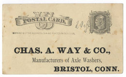 Postal Card One Cent Chas. A. Way & Co Manufacturer Axle Washer Bristol Conn. - Zonder Classificatie