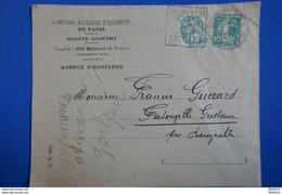 L74 FRANCE LETTRE 1927 HONFLEUR A FATOUVILLE TIMBRES BLANC ET SEMEUSE AFFR RARE PUB + PERFORéS - Covers & Documents