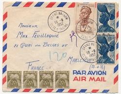 Côte D'Ivoire => Enveloppe Affr. Composé Timbres AOF - Grand Bassam 1952 - Taxée En France 4x20F Type Gerbe - Cartas