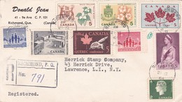 CANADA CIRCULATED ENVELOPE 1964 RICHMOND TO LAWRENCE USA. REGISTERED  -LILHU - 1952-.... Regno Di Elizabeth II