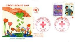 """"""" CROIX-ROUGE : DESSINE UN VOEUX POUR LES ENFANTS DU MONDE """" Sur Enveloppe 1er Jour De 2007.N° YT 4125 6. Voir état. FDC - Red Cross"""