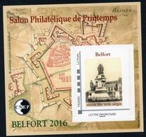 BLOC CNEP SALON PHILATELIQUE DE BELFORT -  2016 - CNEP